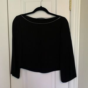 Black Cropped Blouse with Zipper Detail